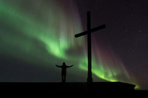 Cross northern lights