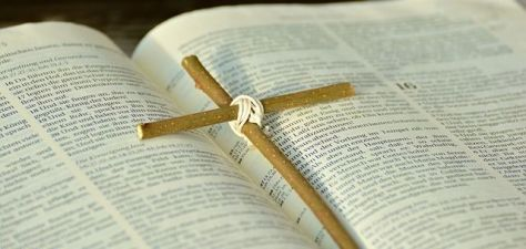 Bible with cross